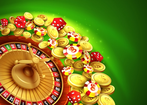 Casino background with chips, craps and roulette.