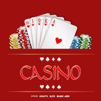 Casino background with chips and playing cards