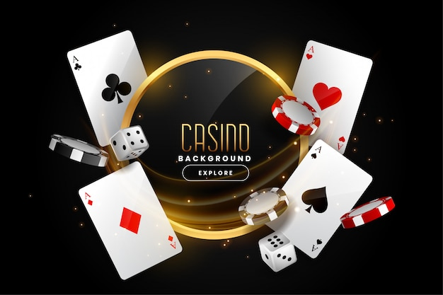 Casino background with playing card chips and dice