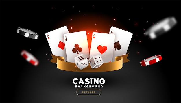 Casino background with playing card dice and flying chips