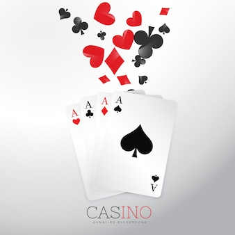 Casino background with playing cards and symbols