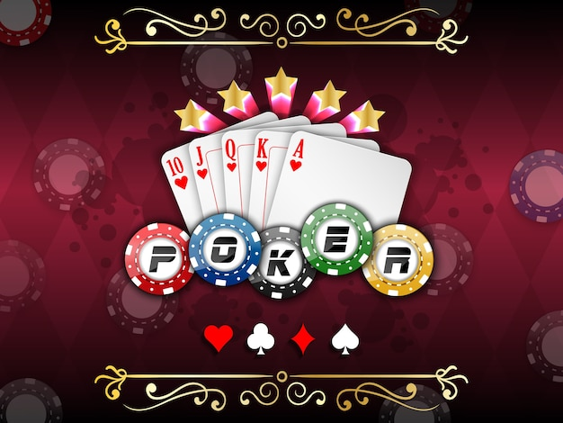 Casino background with playing cards with poker chips