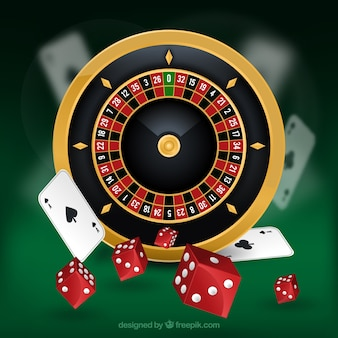 Casino background with roulette and red dice