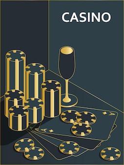 Баннер казино. фишки, напитки и карты туза Premium векторы