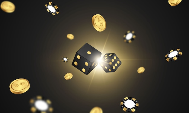 Casino banner jackpot design decorated with golden glittering playing prize sign coins.