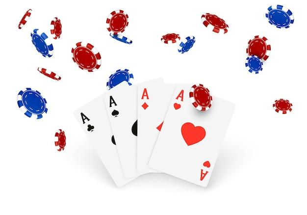 カジノのバナーまたは3dデザイン要素。 fallinfポーカーチップとトランプ。白い背景で隔離のベクトル図