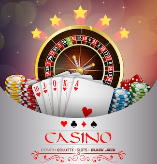 Casino banner with casino roulette wheel
