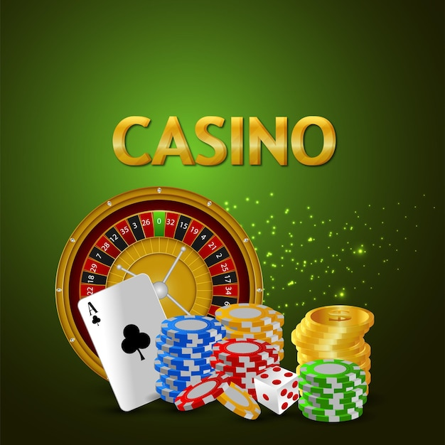 Casino banner with creative gold coin, roulettewheel and playing card