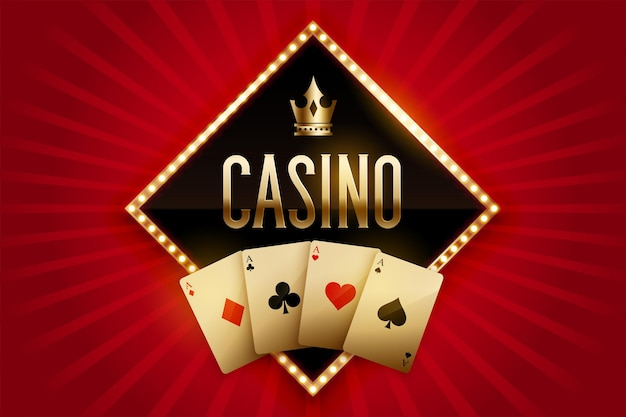 Casino banner with golden cards and crown Free Vector