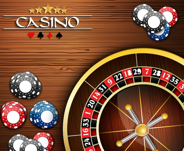 Casino banner with poker chips and roulette wheel