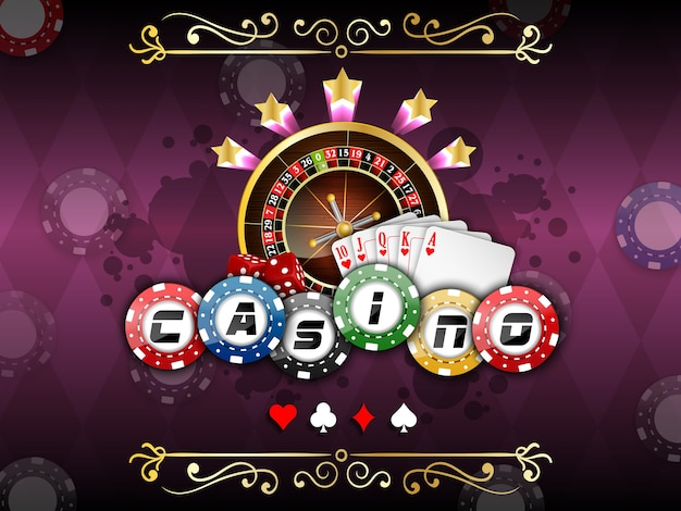 Casino banner with roulette wheel