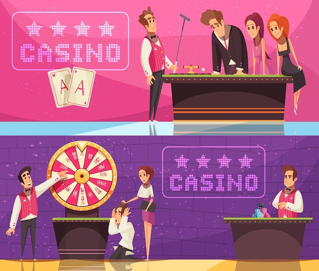 Casino banners collection with gambling game images emotional human characters of stickman banker and flat logotypes