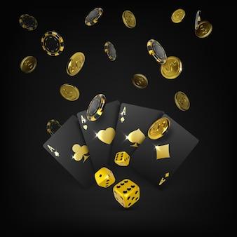 カジノ大勝ポスター。ゴールドダイスブラックトランプ4エースと落下ポーカーチップとゴールデンコイン。ギャンブルバナーの3dデザイン要素。ベクトルイラスト