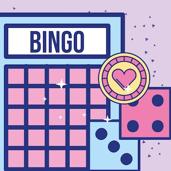 Casino bingo card dices and chip game image design