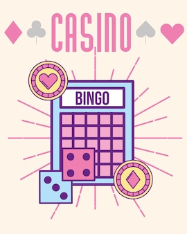 Casino bingo dices and chips cartoon style