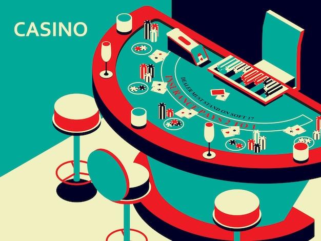 アイソメトリックフラットスタイルのカジノブラックジャックテーブル。チップとカードデッキ