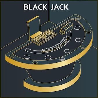Стол казино блэкджек в изометрической плоский стиль. фишки и колода карт