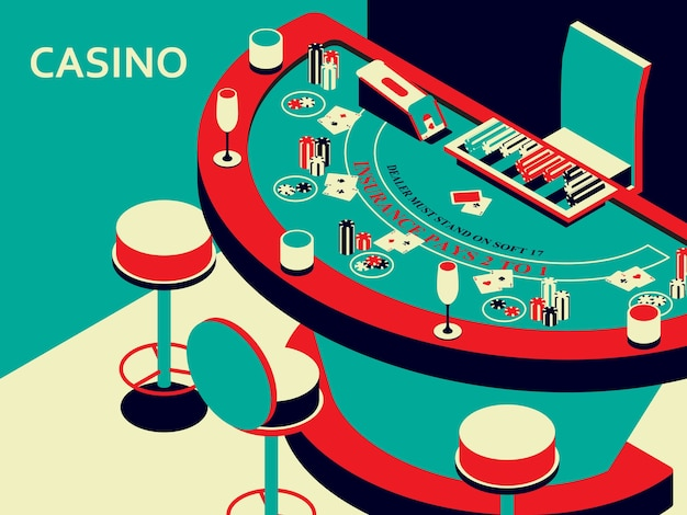 Casino black jack table in isometric flat style. chips and card deck