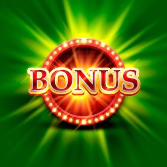 Casino bonus banner on a bright green background. vector illustration