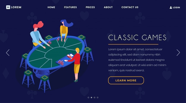 Casino card games isometric landing page