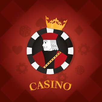 Casino card king over chip vector illustration graphic design