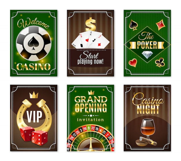 Casino cards mini posters banners set
