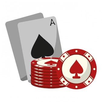 チップ付きのカジノカード