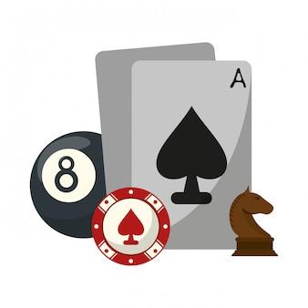 チェスの駒とカジノ車のチップとプールボール