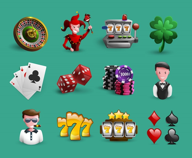 Casino cartoon elements set