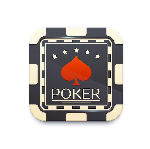 Casino chip icon with poker game symbol. 3d vector gambling game icon, isolated ui element for mobile application or web design. online casino button, black or white piece with ace of spades and stars
