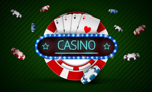Casino chip with retro neon light sign