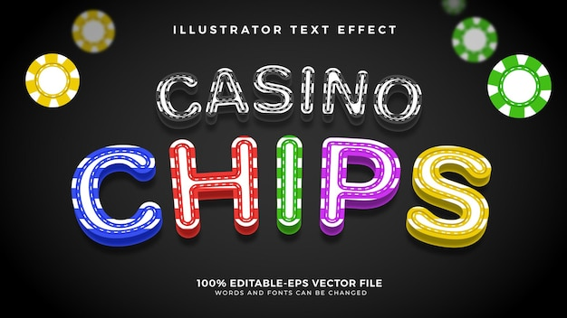 Casino chips editable text effect