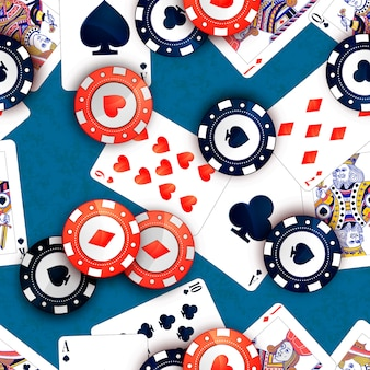 Casino chips and poker cards on blue table, seamless pattern