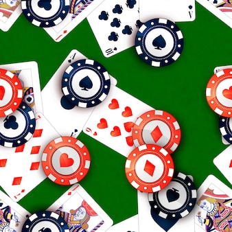Casino chips and poker cards on green table, seamless pattern
