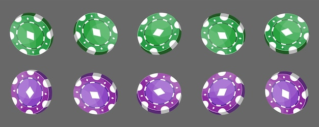 Casino chips for poker or roulette. green and purple color elements for logo, website or background design. vector illustration.