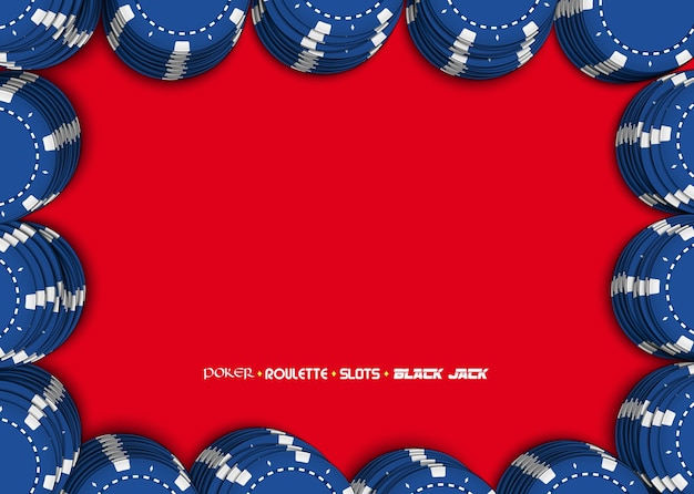 Casino chips on a red background