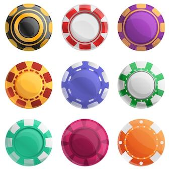 Casino chips set, cartoon style