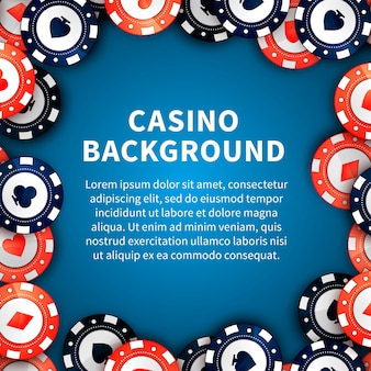 Casino chips on table, background with text template