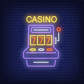 Casino colorful neon sign. Slot machine shape with triple seven on brick wall background