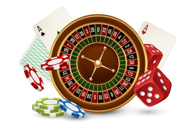 Casino concept. casino roulette, chips, dice and cards isolated on white background. illustraton casino gambling, roulette game play