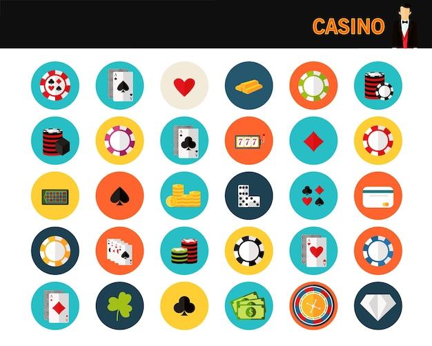 Casino concept flat icons.