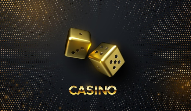 Casino concept of golden dices on black background with golden glitters