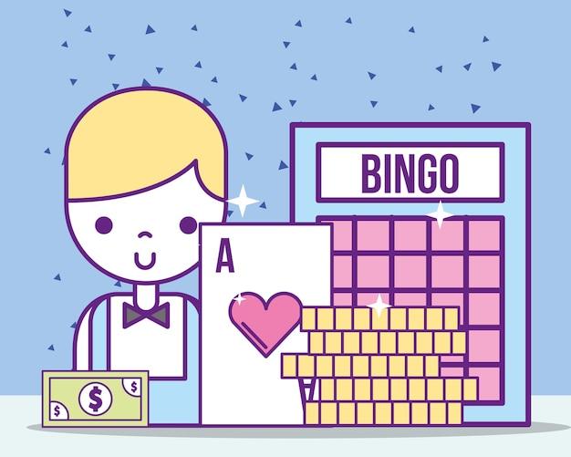 Casino croupier male ace card bill bingo coins