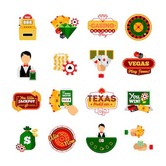Casino decorative icon  set