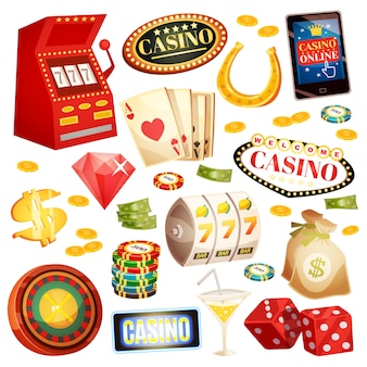 Casino decorative icons set