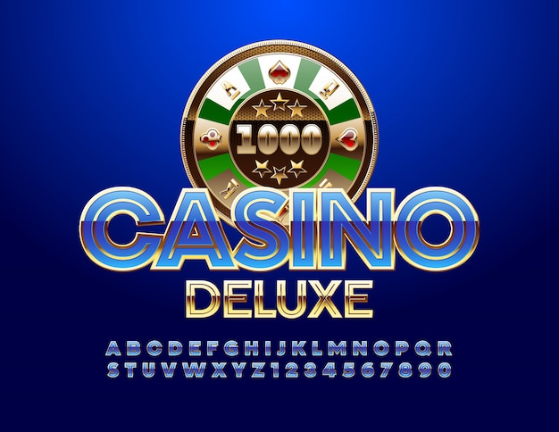 Casino deluxe emblem and blue alphabet and numbers