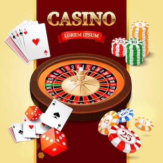 Casino design elements with roulette wheel, chips, craps and playing cards.