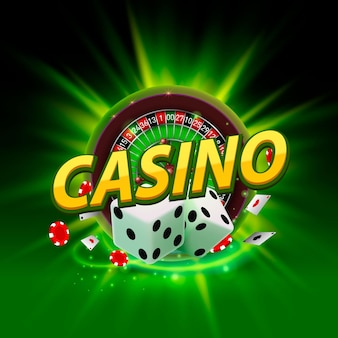 Casino dice roulette banner signboard on background. vector illustration