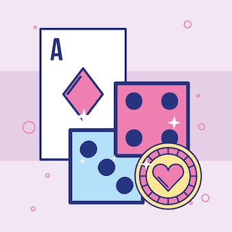 Casino dices double card and chip image