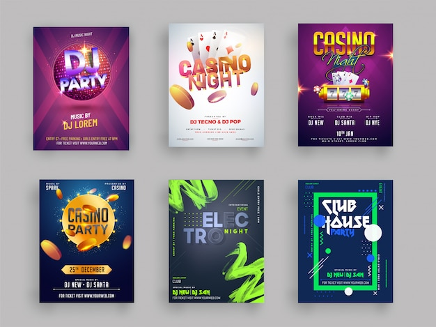 Casino dj and musical party flyer